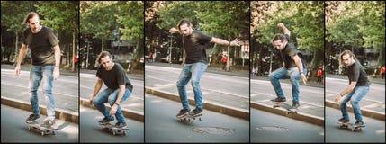 Manhole skateboarding street jump sequence. Free ride school ska Stock Photography