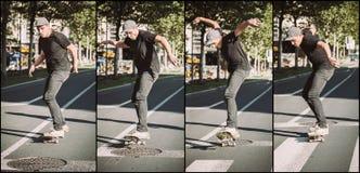 Manhole skateboarding street jump sequence. Free ride school ska Royalty Free Stock Photos
