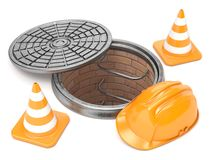Manhole, traffic cones and safety helmet. 3D Stock Images
