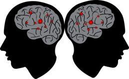 Manhuvud med hjärnan stock illustrationer
