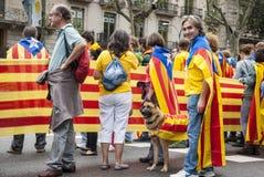 Manière catalanne, chaîne humaine pour exiger l'indépendance de Catal Image libre de droits