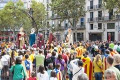 Manière catalanne, chaîne humaine pour exiger l'indépendance de Catal Photos libres de droits