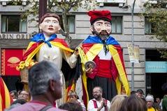 Manière catalanne, chaîne humaine pour exiger l'indépendance de Catal Photos stock
