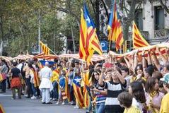 Manière catalanne, chaîne humaine pour exiger l'indépendance de Catal Images libres de droits
