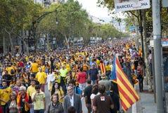 Manière catalanne, chaîne humaine pour exiger l'indépendance de Catal Photo stock