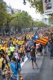 Manière catalanne, chaîne humaine pour exiger l'indépendance de Catal Photographie stock