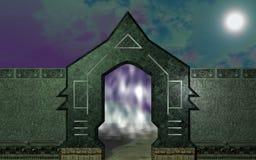 Manière de porte à travers le mur en pierre Photo stock