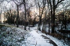 Manière de promenade d'hiver au lac grand, l'Oklahoma Photo stock