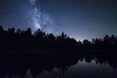 Manière laiteuse au-dessus de lac Mingus Image libre de droits