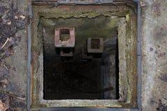 Manière vers le bas dans un trou d'homme d'eaux d'égout Photographie stock