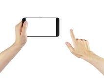 Mani adulte dell'uomo facendo uso di generico digitalmente creato fotografia stock libera da diritti