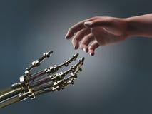 Mani amiche del robot e dell'essere umano Fotografia Stock