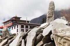 Mani apedreja o monastério de Tengboche, Nepal Imagem de Stock Royalty Free