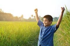 Mani aperte dell'agricoltore sul giacimento del riso Fotografia Stock