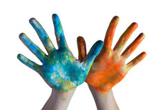Mani attraversate colorate Fotografia Stock Libera da Diritti