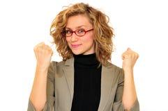 Mani in aumento della donna di affari Fotografia Stock