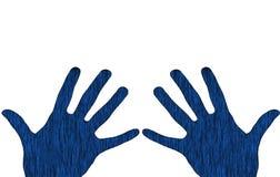 Mani blu Fotografia Stock Libera da Diritti