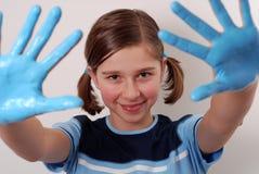 Mani blu immagini stock