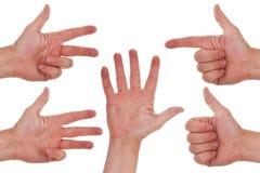 Mani caucasiche che contano uno - cinque Immagini Stock