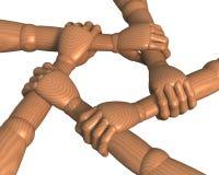 Mani che afferrano l'anello degli avambraccia, team-building Fotografie Stock