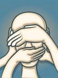 Mani che coprono fronte Fotografia Stock Libera da Diritti