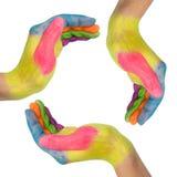 mani che fanno un cerchio Fotografia Stock Libera da Diritti