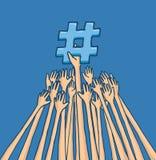 Mani che lottano per raggiungere tendenza del hashtag di argomento Immagine Stock Libera da Diritti