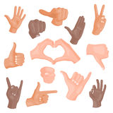 Mani che mostrano i gesti differenti sul pugno umano bianco di progettazione di comunicazione e di direzione della raccolta della Fotografie Stock