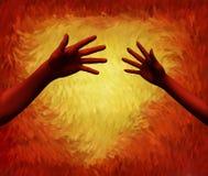 Mani che raggiungono fuori con un cuore ardente Fotografie Stock Libere da Diritti