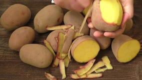 Mani che sbucciano le patate, vista superiore video d archivio