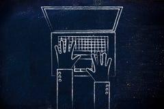 Mani che scrivono sulla tastiera del computer portatile, illustrazione piana Immagini Stock Libere da Diritti
