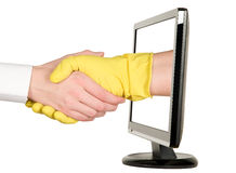 Mani che stringono, monitor LCD Fotografia Stock
