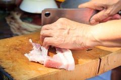 Mani che tagliano carne cruda Immagine Stock Libera da Diritti