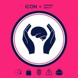 Mani che tengono cervello - icona di protezione Immagini Stock Libere da Diritti