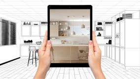 Mani che tengono compressa che mostra cucina bianca e di legno moderna Fondo di schizzo del modello cad, concetto aumentato di re illustrazione vettoriale