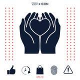 Mani che tengono cuore - simbolo di protezione Immagini Stock
