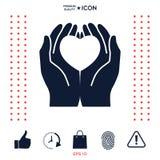 Mani che tengono cuore - simbolo di protezione Immagini Stock Libere da Diritti