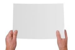 Mani che tengono documento in bianco Fotografia Stock Libera da Diritti