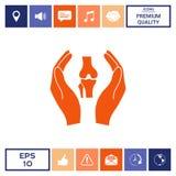 Mani che tengono ginocchio-giunto - icona di protezione Fotografia Stock
