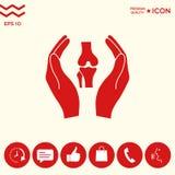 Mani che tengono ginocchio-giunto - icona di protezione Fotografie Stock Libere da Diritti