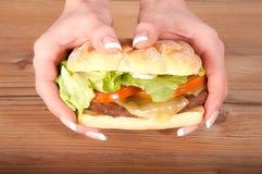 Mani che tengono hamburger Fotografia Stock Libera da Diritti