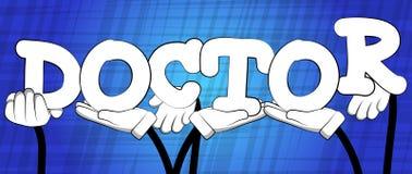 Mani che tengono il medico di parola illustrazione di stock
