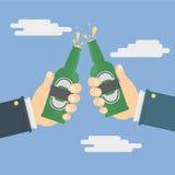 Mani che tengono le bottiglie di birra illustrazione vettoriale