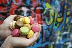 Mani che tengono mucchio dei biscotti variopinti del maccherone Fotografia Stock