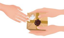 Mani che tengono pacchetto illustrazione di stock