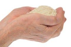 Mani che tengono riso Fotografia Stock