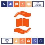 Mani che tengono simbolo di protezione del libro Fotografia Stock Libera da Diritti
