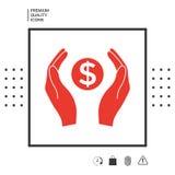 Mani che tengono simbolo soldi del dollaro Fotografia Stock