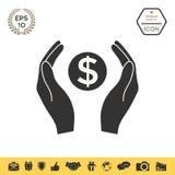 Mani che tengono simbolo soldi del dollaro Immagini Stock