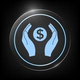 Mani che tengono simbolo soldi del dollaro Fotografie Stock